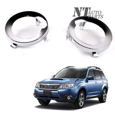 Pair Chrome Fog Light Lamp Ring Cover Trim For Subaru Forester 2009-2013 (Chrome Fog Light Lamp)