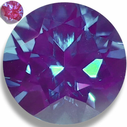 Lab Created Alexandrite Teal/Pink Round Faceted Loose Gemstones Fine Cut AAA