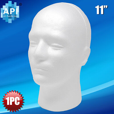 Male Styrofoam Foam Mannequin Manikin Head 11 Wig Display Hat Glasses 1pc