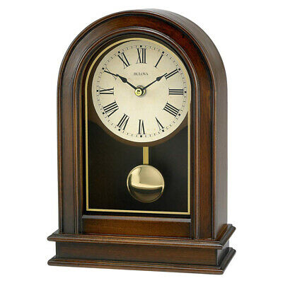 Bulova Clocks B7467 Hardwick Decorative Wooden Table Top Pendulum Clock, Walnut