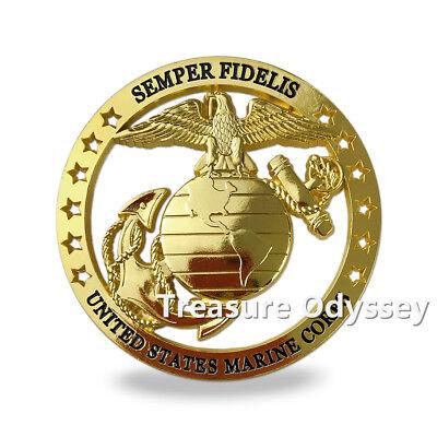 - United States Marine Corps Seal Car Badge Semper Fi Cut Out Gold Auto Emblem