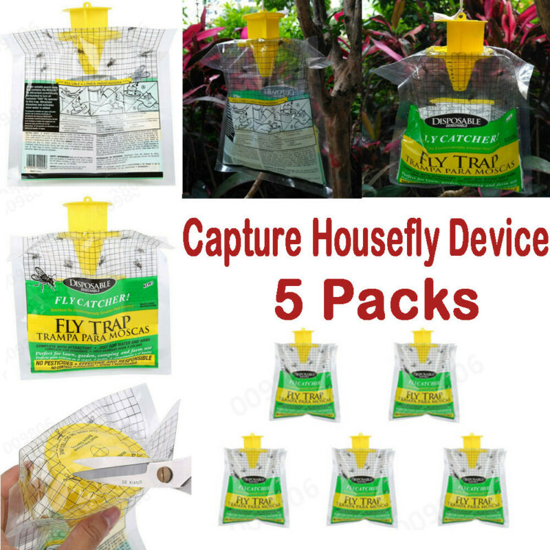 5xDisposable Fly Trap Capture Housefly Device Insect Hanging