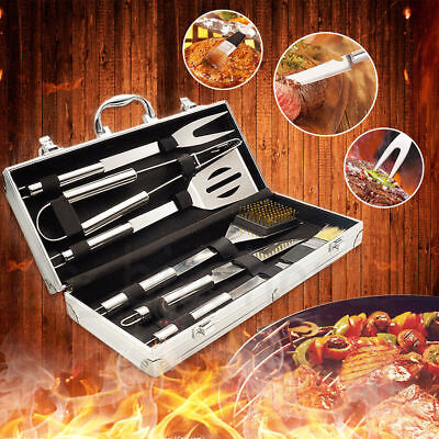 6PCS Stainless Steel BBQ Grill Tools Set Outdoor Utensils With Aluminum Case