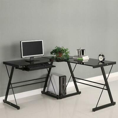 Glass Corner Computer Pc Desk L Shaped Office Furniture Table Workstation