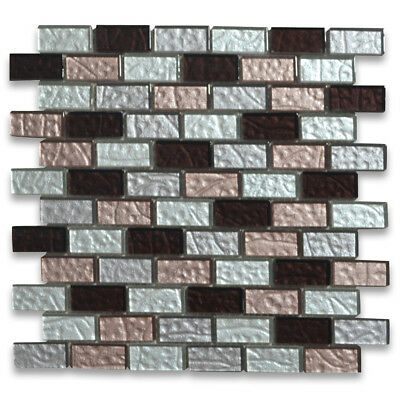 Deep Red Pink White and Light Grey Satin Glass 1x2 Brick Mosaic Tile A63004
