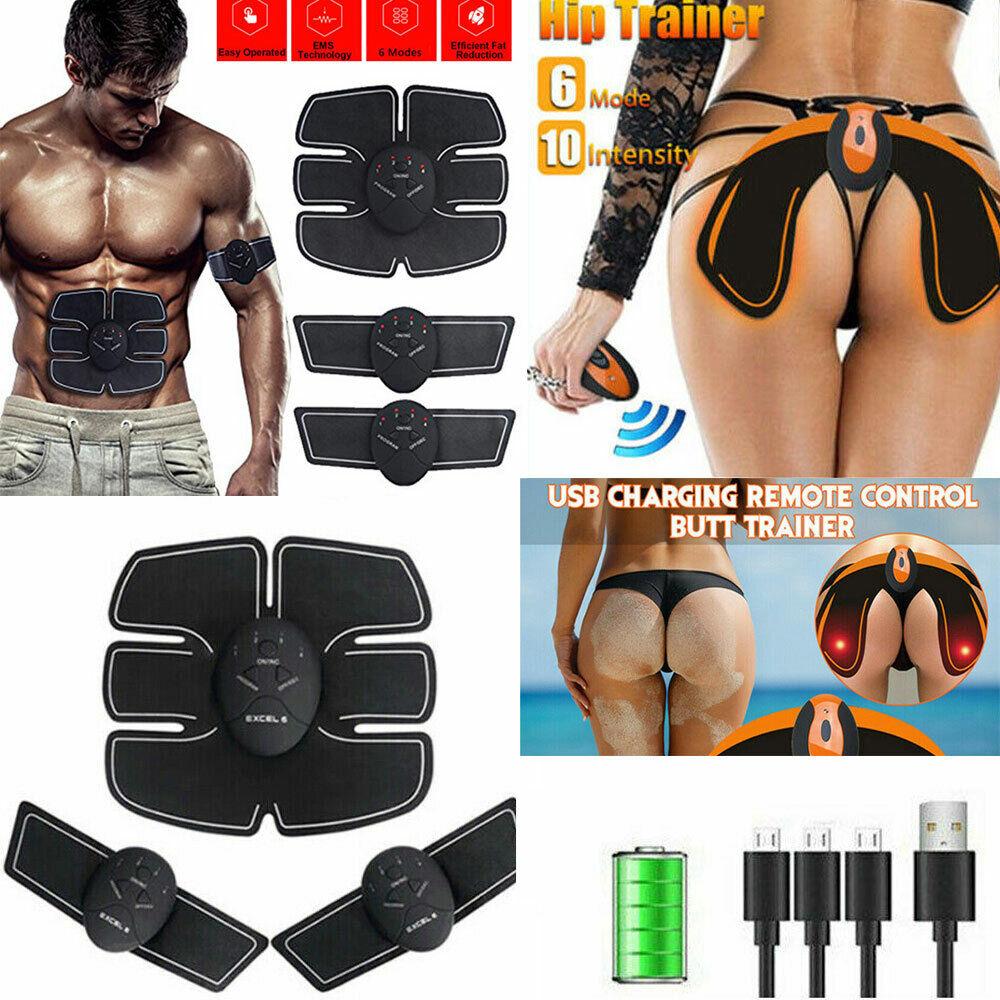 8PC Electric Muscle Toner EMS Simulator Wireless Belt ABS Bu