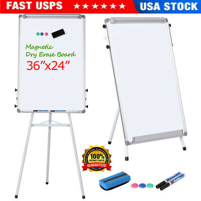 24x36 Magnetic Dry Erase White Board W Tripod Flipchart Stand Office Home Us