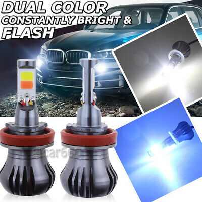 H11 H8 H9 H16 LED Fog Light Bulb 6K White + 8K Ice Blue Dual Color / Strobe