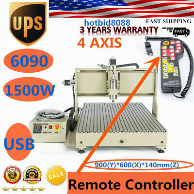 4 Axis Cnc Usb 6090 1500w Router Engraving Engraver Machine Handwheel