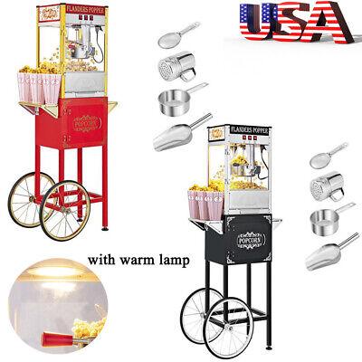Vintage Popcorn Machine Maker Popper W Cart 8oz Kettle Capacity Theater Popper