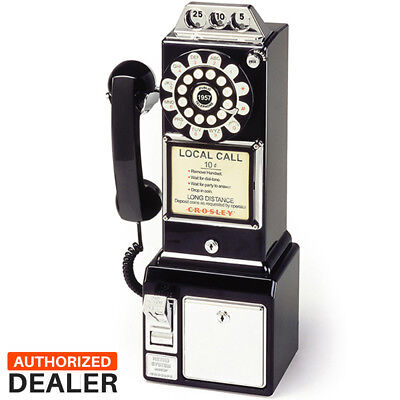 1950's Old Fashioned Rotary Classic Black Dial Pay Phone Vintage Phone Booth Cal 1950's Classic Pay Phone