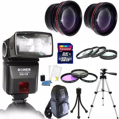 Bower SFD728C TTL Autofocus Flash For Canon E-TTL + 32GB + 58MM TOP Accessories