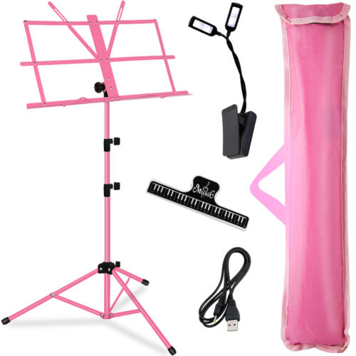 Music Stand Pink with Carrying Bag/LED light/Music Sheet Clip