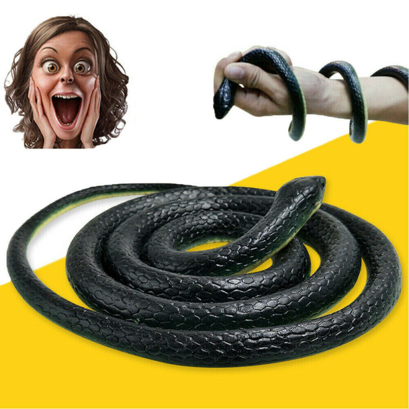 """50"""" Fake Snake Rubber That Look Real Scary Gag Durable Garden Prop Realistic Toy"""