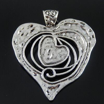 32923 Antike-Silber-Legierungs-Herz-Halsketten-Anhänger-Charme 3pcs