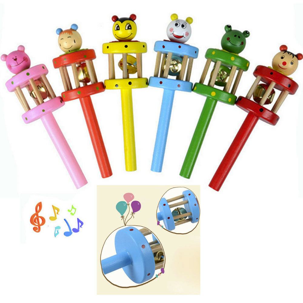 Toy Cartoon Children Musical Handbell Animal Rattle Jingle Instrument Wooden