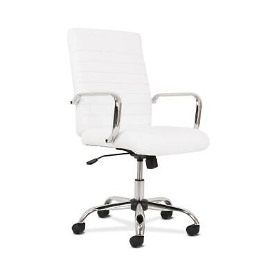 Sadie Executive Computer Chair- Fixed Arm For Office Desk White Leather...