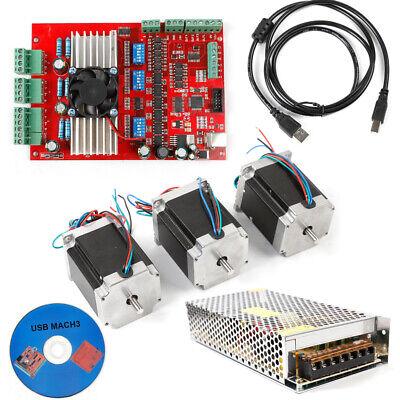 Mach3 Usb 3-axis Cnc Kit Tb6600 Driver Board Nema23 Stepper Motorspower Us