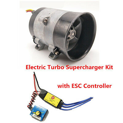 - 12V Car Electric Turbo Supercharger Kit Air Intake Fan Boost Thick Wire w/ESC