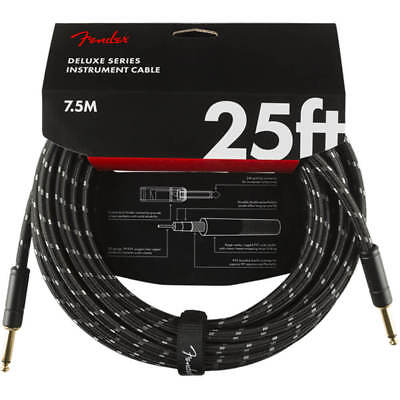 Fender Deluxe Series Instrument Cable, Straight, 25' - Black Tweed