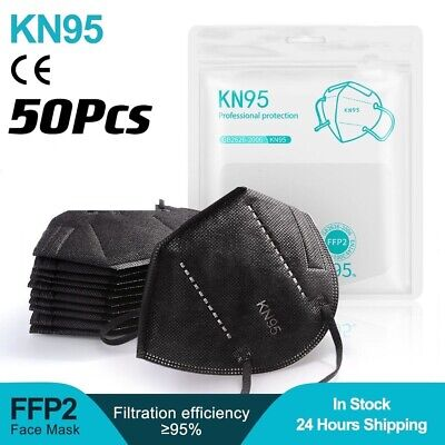 50 Pcs Black Kn95 Protective 5 Layer Face Mask Bfe 95 Disposable Respirator