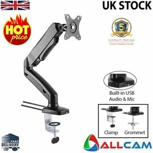 Allcam Gas Spring Desk Mount LCD Monitor Single Arms Stand w/ vesa bracket