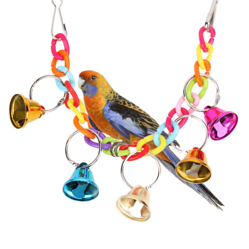Details about Cute Pet Bird Bell Acrylic Toys Chew Parrot Ringer Hanging  Swing Cage Cockatiel