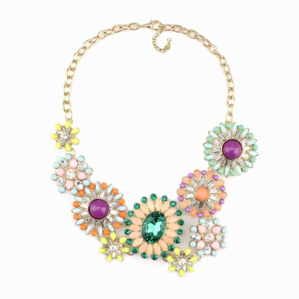 Gold Chain Colorful Crystal Flower Statement Pendant Necklace For Women Jewelry