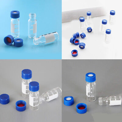 110pcs Lab Chemical Sample Glass Bottle Reagent Vial Round Containers 1.5ml Acc