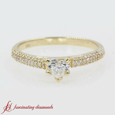 3/4 Carat Heart Shaped Diamond Cathedral Style Triple Row Pave Engagement Ring