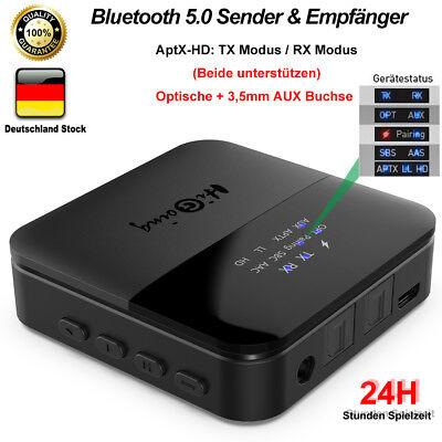 Bluetooth 5.0 Transmitter Empfänger Audio Adapter HiFi Stereo Sender Receiver