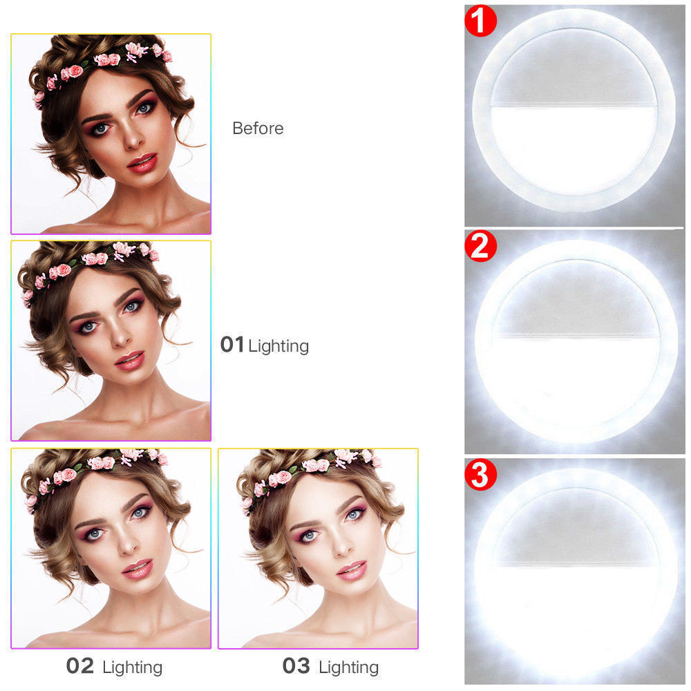 Купить Unbranded - Selfie Portable LED Light Ring Fill Camera Flash For Mobile Phone iPhone Samsung