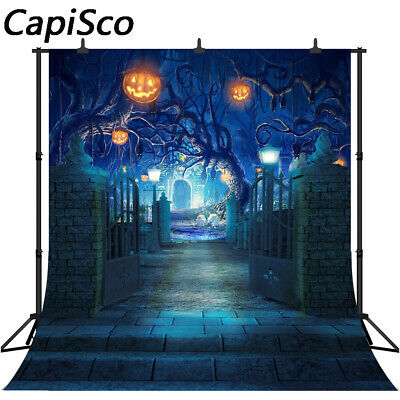 Old Trees Halloween Backdrop Pumpkin Lanterns Black Cats Night Party Backgrounds](Halloween Cats Background)