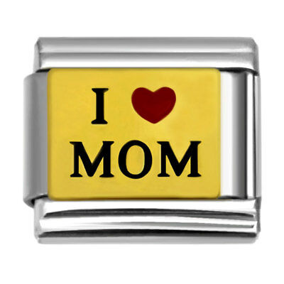 (Letters I love MOM Italian Charm 9mm Stainless Steel Link for Bracelets IM576)