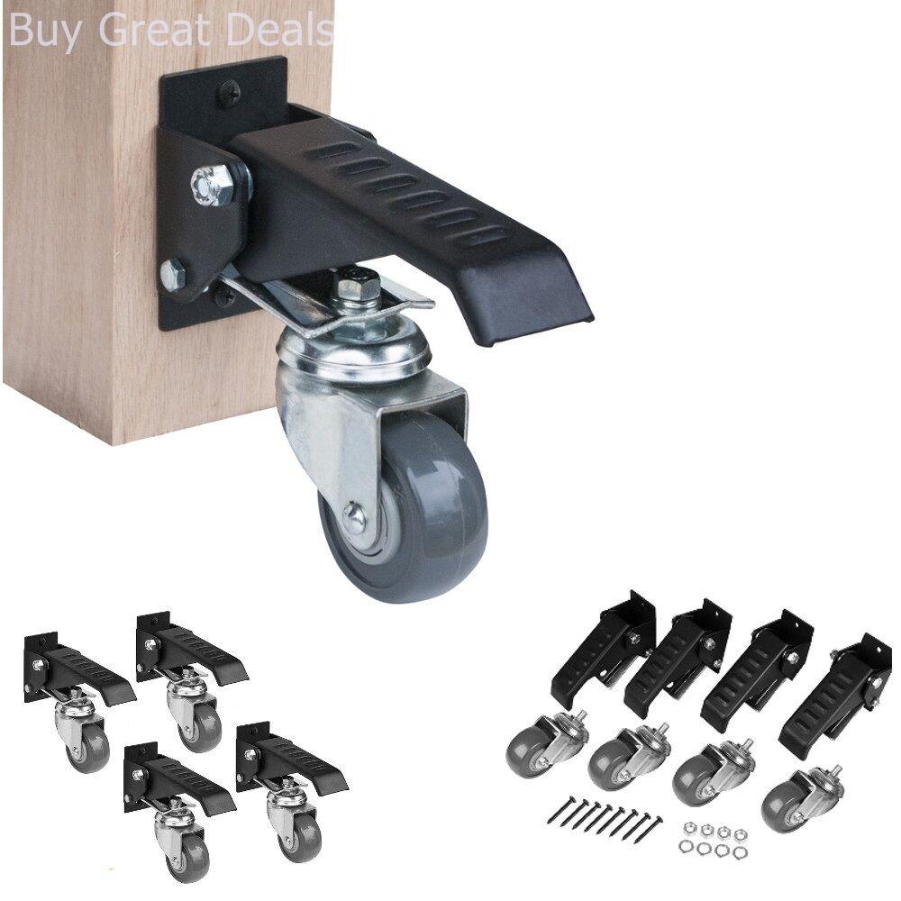 Details About Powertec 17000 Workbench Caster Kit 4 Pack Set Durable Steel Casters