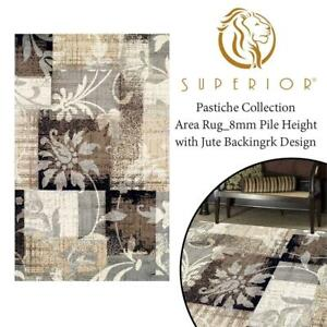 NEW Superior Pastiche Collection Area Rug_8mm Pile Height with Jute Backing_Chic Geometric Floral Patchwork Design_Fa...