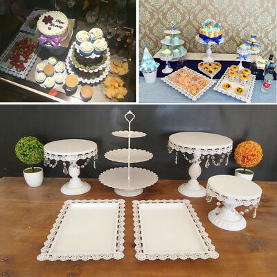 Set of 6 Crystal White Metal Cake Holder Cupcake Stand Wedding Party Display New - Cupcake Display Stand