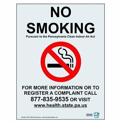 ComplianceSigns Clear Vinyl Pennsylvania No Smoking Window Cling, 7 x 5 in.