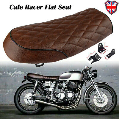 MOTORCYCLE CAFE RACER BRAT FLAT SEAT HUMP SADDLE BROWN FOR HONDA YAMAH