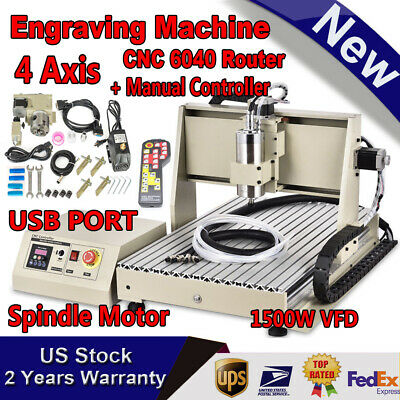 4 Axis Usb 6040 Cnc Router Engraving Mill 3d Machine 1.5kw Vfd Spindlehandwheel
