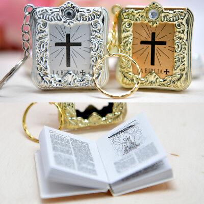 12 Mini Baptism Favors Bibles Recuerdos Bautizo Biblias Keychains - Keychain Favors