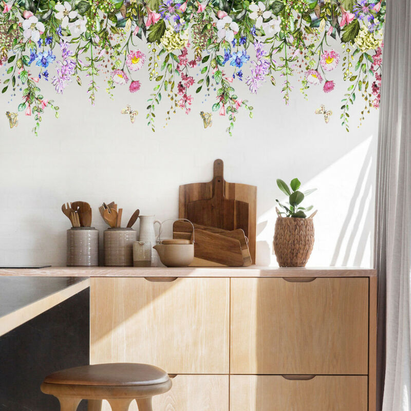 Home Decoration - Flower Grass Wall Stickers Home Art Decal Mural Wall Background Decoration