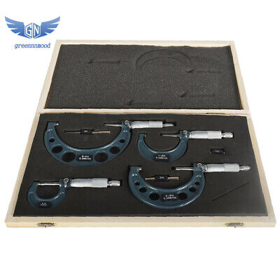 New 4pcsset 0-4 Outside Micrometer Precision 0.0001 Carbide Tipped