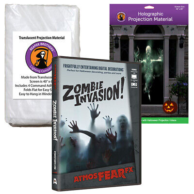 AtmosFearFX Zombie Invasion Halloween DVD + 2 Rear Projection Screens (RD)