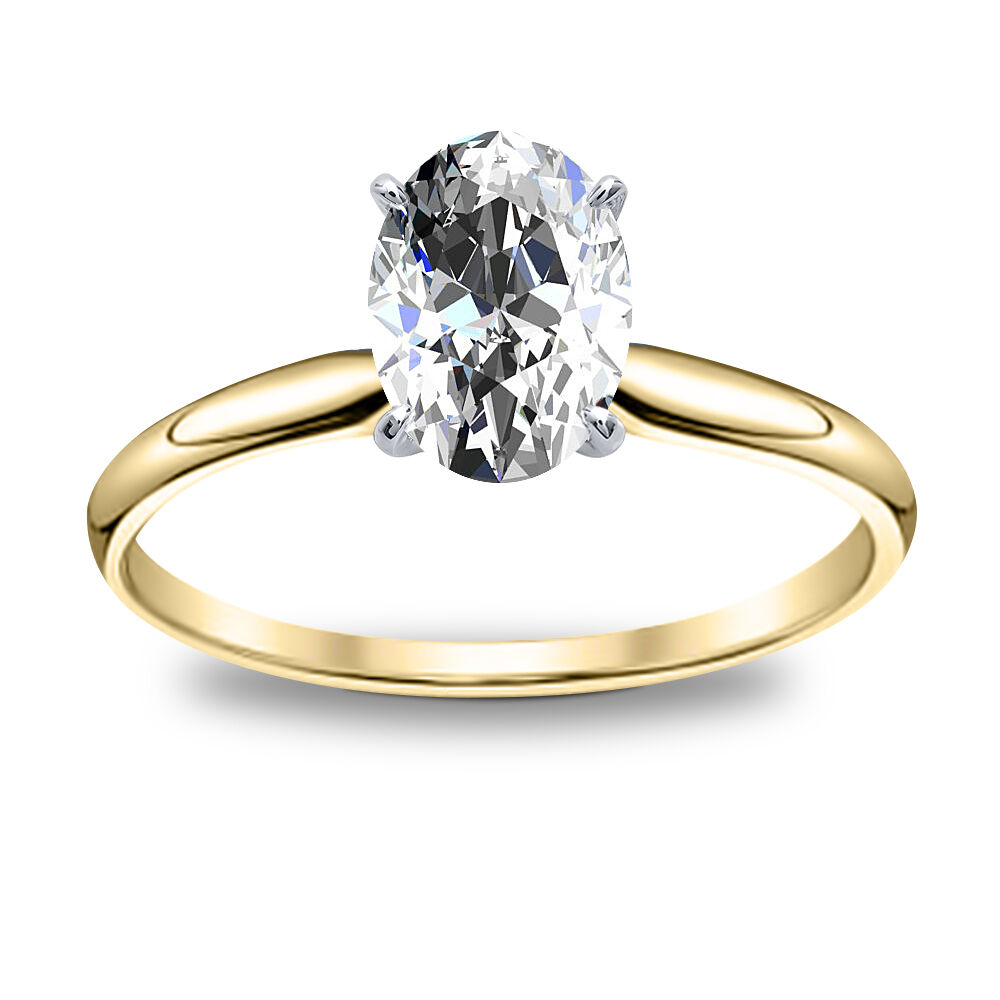 2.00ct Natural Oval Tapered Solitaire Diamond Engagement Ring - GIA Certified