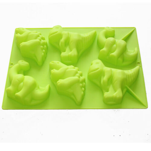 Large 6 Dinosaurs Chocolate Soap Candle Crayon Wax Plaster Silicone Mold