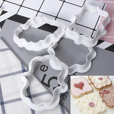 4 pcs Kunststoff Kekse Gebäck Fondant Kuchen Sugarcraft Decor Form Rahmen Cutter