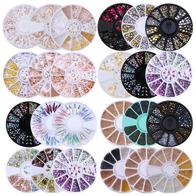 3D Nail Art Decoration Wheel Nail Rhinestone Rivet Steel Bead Mixed Manicure Kit - Rhinestone Kit