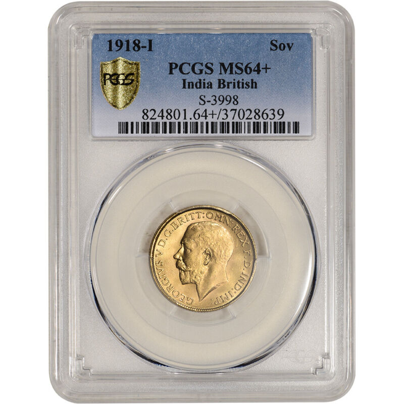 1918 I India British Gold Sovereign - PCGS MS64+ S-3998