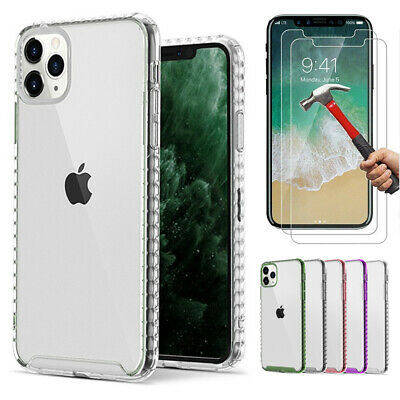 For iPhone 11 Pro Max XR XS 7 8 Plus Ultra Slim Clear Case + 2 Screen -